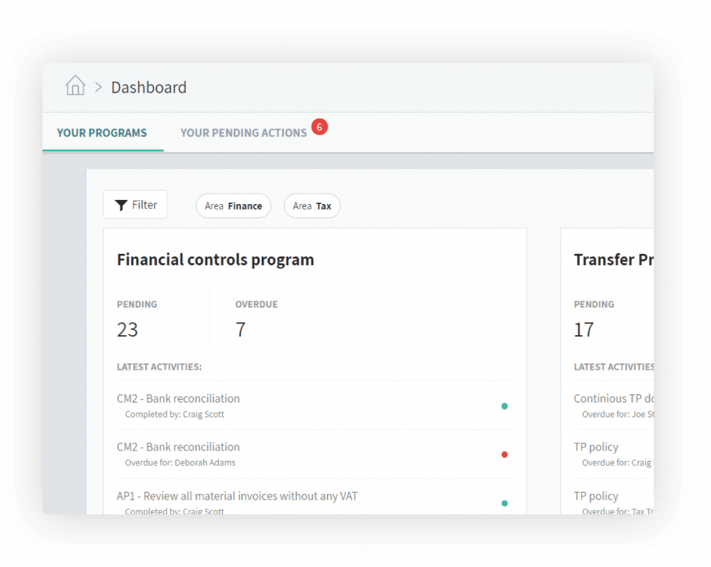 Controls and tasks, compliance software