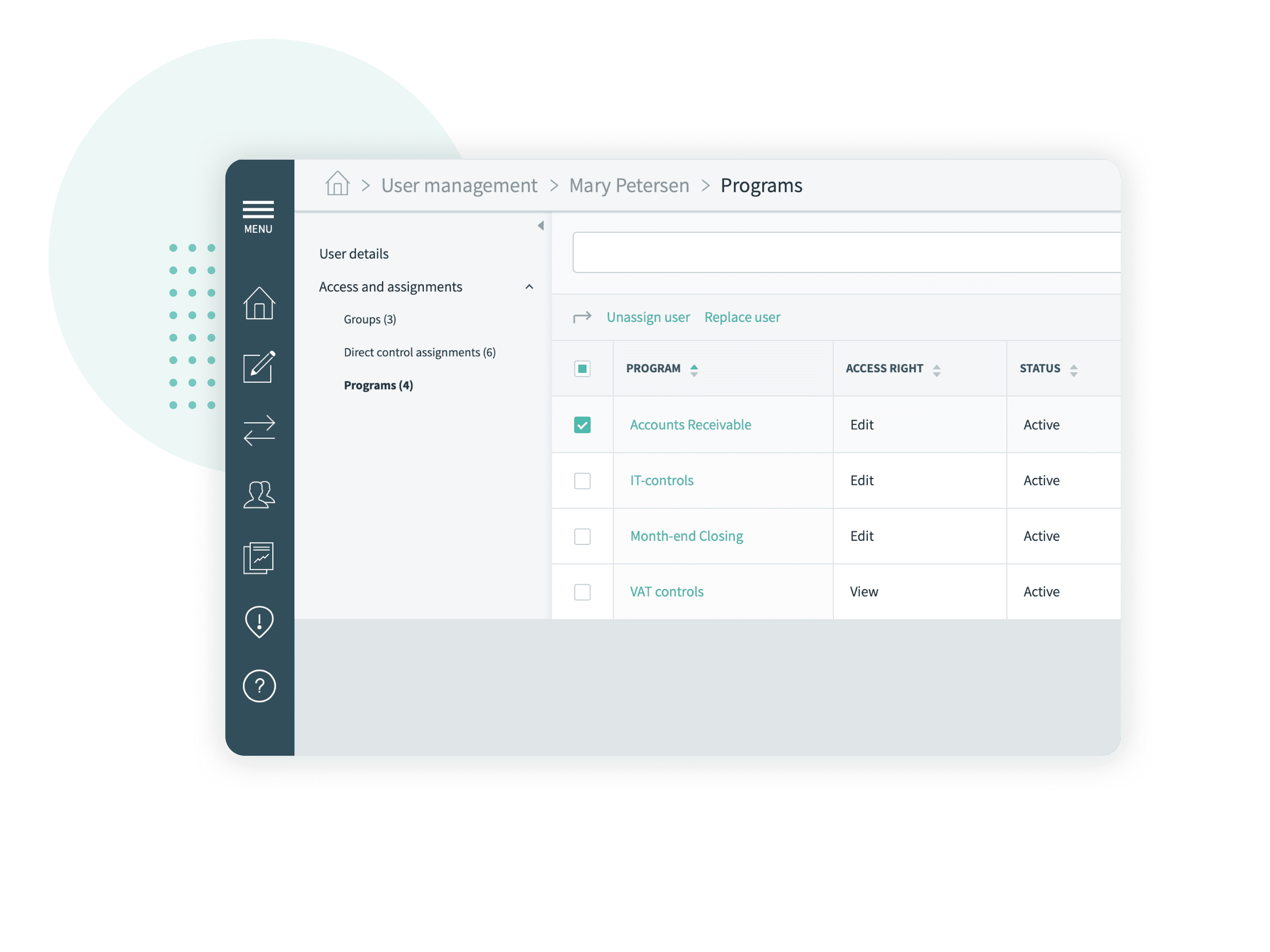 Easy user administration, Impero Compliance Platform